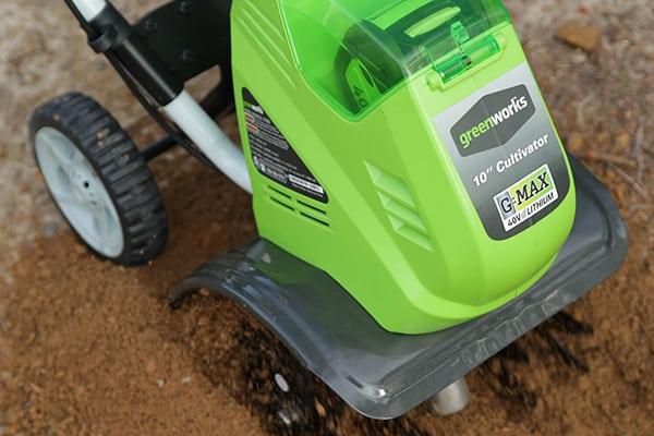 greenworks 40v cordless rototiller in hard soil