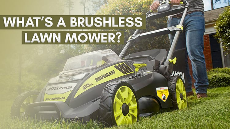 a brushless lawn mower being pushed by a guy