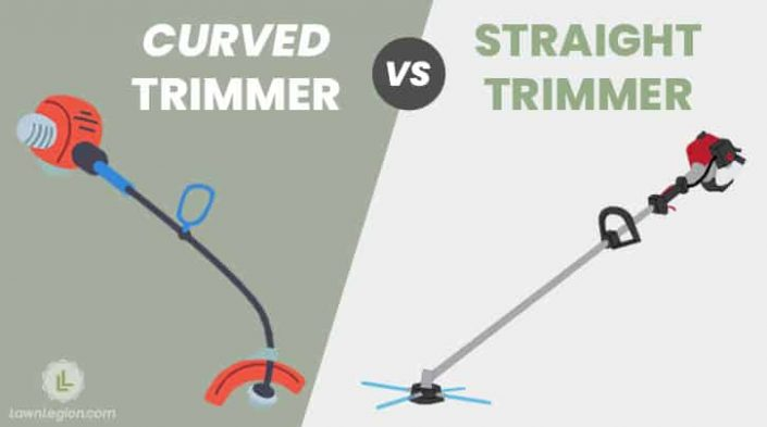 curved string trimmer vs straight string trimmer side by side